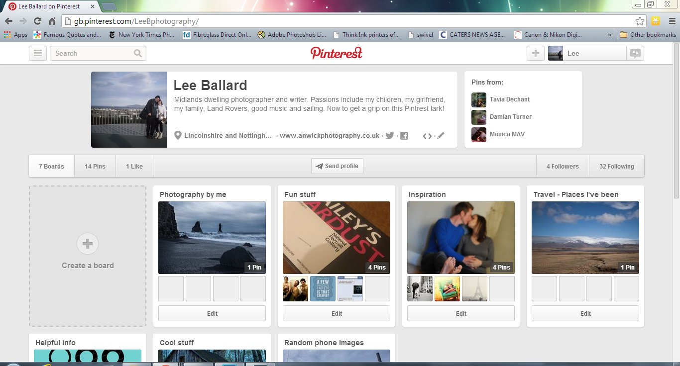 My page on Pinterest